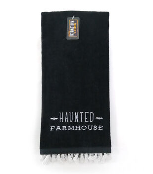 Maker's Halloween Decor Towel with Trim-Haunted Farmhouse