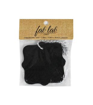 Fab Lab Chalkboard Tags 4/Pkg-Square Scallop