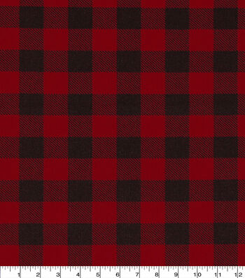 "Wide Cotton Fabric 108""-Buffalo Check Red & Black"