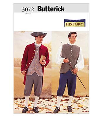 Butterick Pattern B3072-Mens Costume-Coat, Vest, Shirt, Pants and Hat