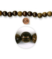 Blue Moon Strung Coco Wood Beads,Round,Brown w/Black, , hi-res