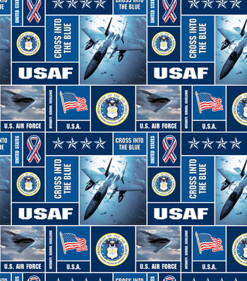 "United States Air Force Fleece Fabric 58""-Allover"