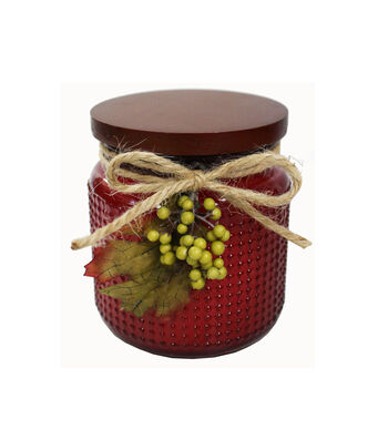 Simply Autumn 4''x4.25'' Scented Glass Jar Candle-Burgundy