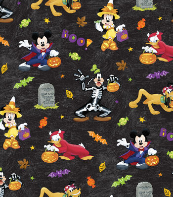 "Disney Mickey & Friends Halloween Cotton Fabric 43""-Fun"
