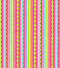 Tutti Fruitti Love Bug Embellished Fabric -Bright Scallop Stripe
