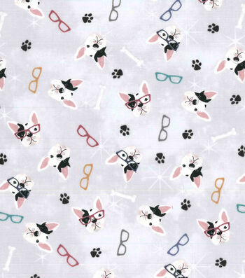 Premium Prints Cotton Fabric-French Bulldogs with Glasses