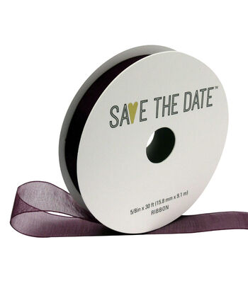"""Save the Date 5/8"""" x 30ft Ribbon-Plum Sheer"""