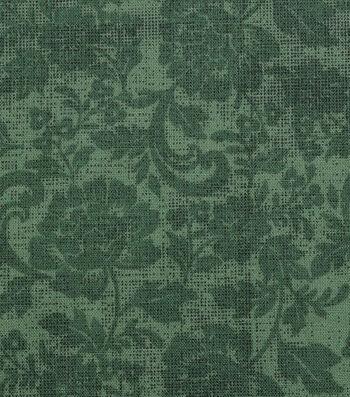 "Harvest Cotton Fabric 44""-Tonal Mums on Green"