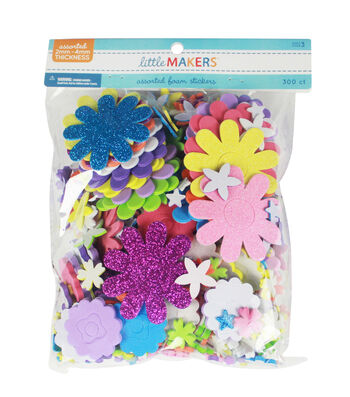 Little Makers Solid And Glitter Foam-Flowers