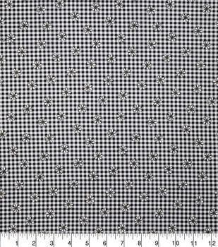 Keepsake Calico Cotton Fabric-Black Gingham Daisy