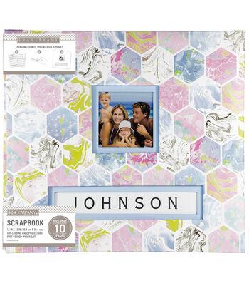 K&Company 12''x12'' Frame-A-Name Scrapbook-Marbled Hexagon