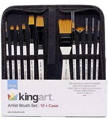 KINGART Artist Brush Set & Case 12/Pkg
