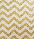 Keepsake Calico Cotton Fabric 43\u0027\u0027-Cream & Gold Metallic Chevron