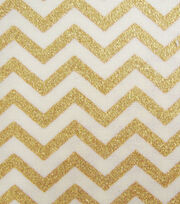 Keepsake Calico Cotton Fabric 43''-Cream & Gold Metallic Chevron, , hi-res