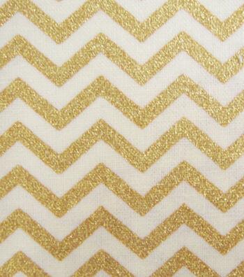 Keepsake Calico Cotton Fabric 43''-Cream & Gold Metallic Chevron