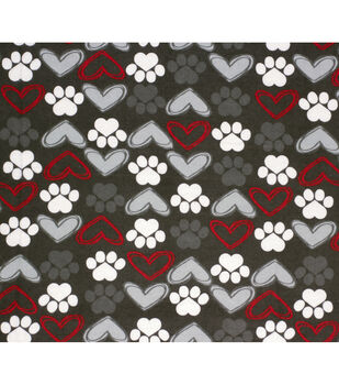 Super Snuggle Flannel Fabric-Sketched Heart Paw on Gray