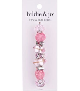 hildie & jo Mix & Mingle 9 pk 15 mm Metal Lined Glass Beads-Pink
