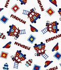 Snuggle Flannel Print Fabric 42\u0022-Fireman Mix