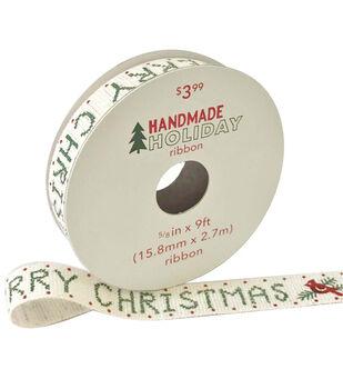 Handmade Holiday Ribbon 5/8''x9'-Cross Stitch Merry Christmas on Ivory