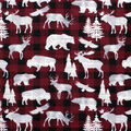 Super Snuggle Flannel Fabric-Animals on Red & Black Buffalo Check