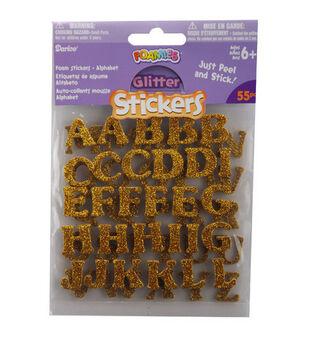 Darice Foamies Glitter Alphabet Stickers-Gold