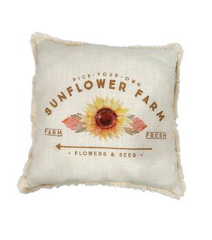 Simply Autumn 18''x18'' Cotton Fabric Pillow-Love Sunflower Farm