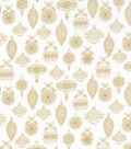 Christmas Cotton Fabric-Gold Metallic Scroll & Ornaments