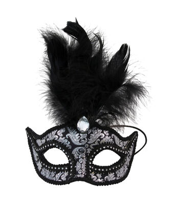 Maker's Halloween 8''x8'' Brocade Mask with Feathers-Black & Silver