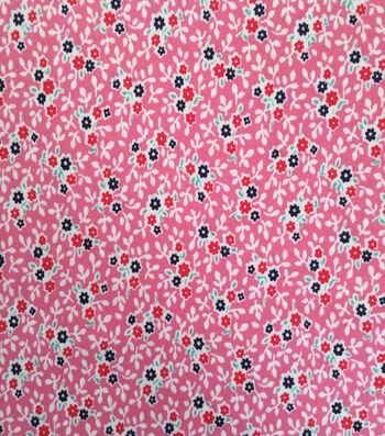 Doodles Juvenile Apparel Fabric 57''-Ditsy Floral Interlock on Pink
