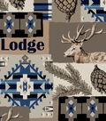 Snuggle Flannel Fabric 42\u0027\u0027-Blue Aztec & Lodge Patch