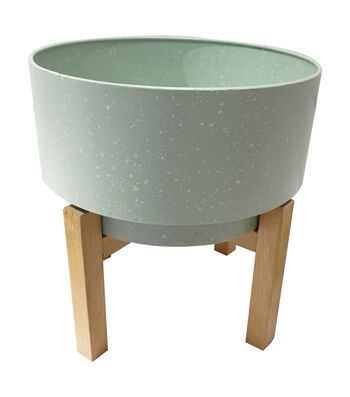 In the Garden Plant Stand with Wooden Base-Green