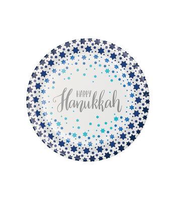Maker's Holiday 8 pk 7'' Lunch Plates-Star of David & Happy Hanukkah