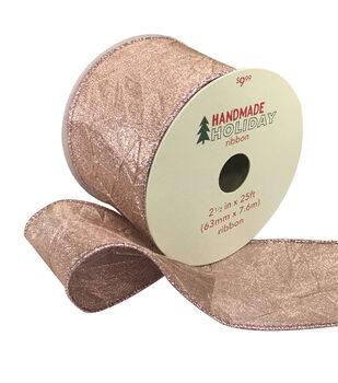 Handmade Holiday Christmas Wrinkled Lame Ribbon 2.5''x25'-Rose Gold