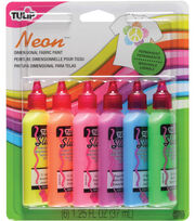 Tulip 3D Fashion Paint 1-1/4 Ounces 6/Pkg-Neon, , hi-res