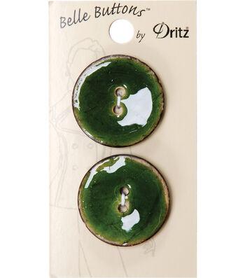 Dritz Belle Button Natural Coconut Green 30mm