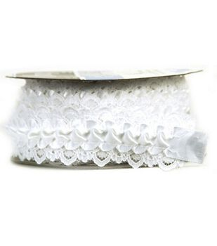Offray Satin Ribbon With Lace Trim 1 Wide X 5 Yards
