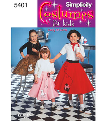 Simplicity Pattern 5401-Child & Girl Poodle Skirt  Costumes