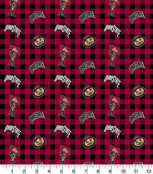 Ohio State Buckeyes Flannel Fabric-Checks
