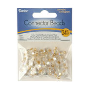 Crystal AB Faceted Glass Bead Jewelry Connectors, Crystal AB/Gold, , hi-res