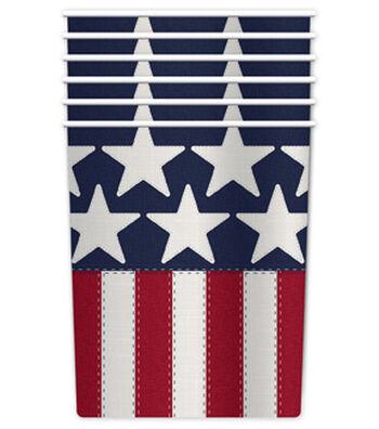 Americana Patriotic 6 pk Paper Cups-Stars & Stripes