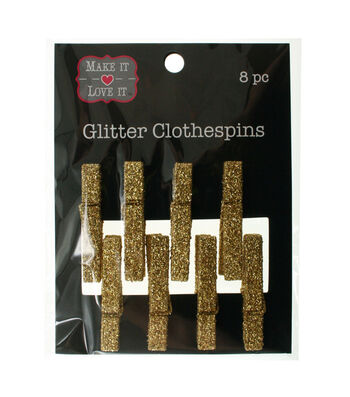 Make It Love It Glitter Clothespins Gold