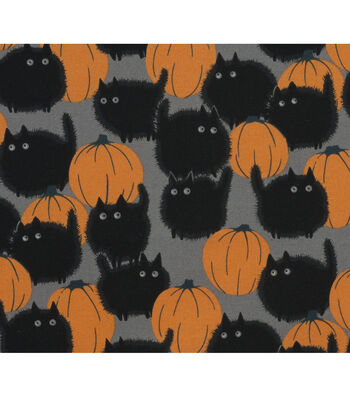 "Halloween Cotton Fabric 45""-Belinda'S Big Kitty"