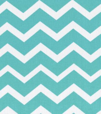 Keepsake Calico Cotton Fabric 43''-Turquoise & White Chevron