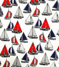 Cape May Cotton Shirting Fabric -Red & Blue Sailing
