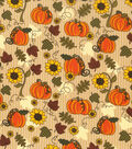 Harvest Cotton Fabric 43\u0022-Pumpkins & Sunflowers