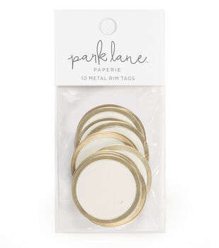 Park Lane Paperie 10 pk Metal Rim Tags-Gold & Off White