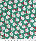 Holiday Cotton Fabric -Tossed Santa Heads On Grn