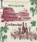 Novelty Cotton Fabric -Wine Stamp