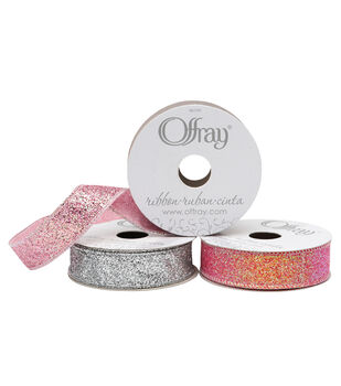 """Offray Glitter Ribbon 7/8"""" x 9 Feet"""