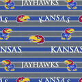 University of Kansas Jayhawks Fleece Fabric -Polo Stripe